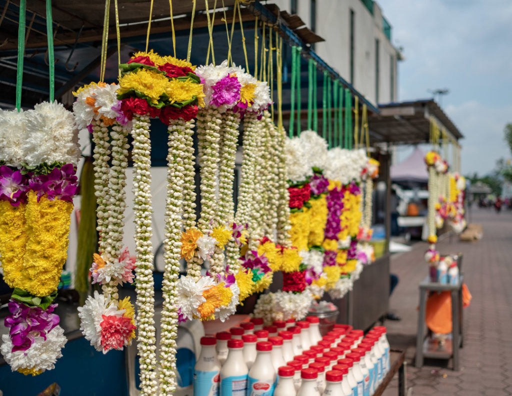 Stand de fleurs à Batu Caves