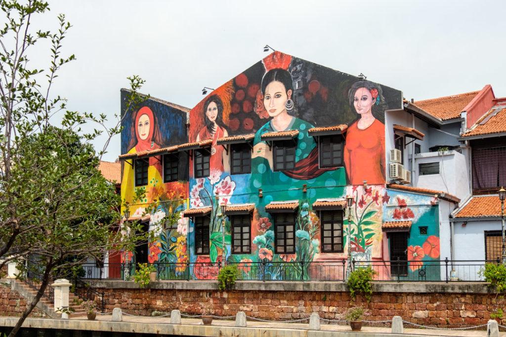 Peinture murale sur les quais de Malacca