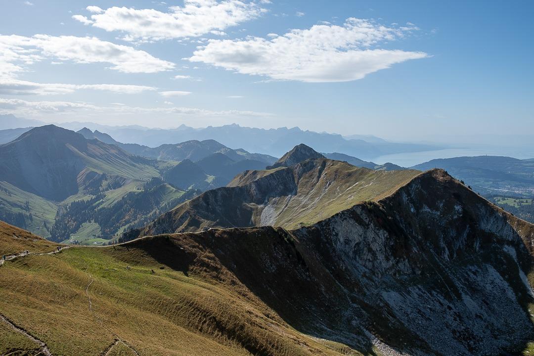 Au sommet du Moléson on aperçoit le Lac Léman ainsi que les massifs alpins dont le Mont-Blanc par temps clairs.
